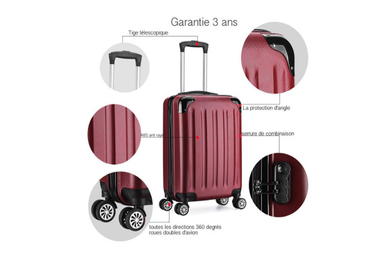 Partyprince Valise cabine 55cm bagage à main ABS test